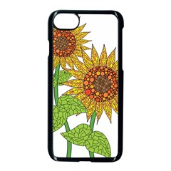 Sunflowers Flower Bloom Nature Apple Iphone 7 Seamless Case (black) by Simbadda