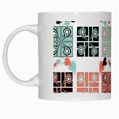 Mint Black Coral Heart Paisley White Mugs by Simbadda