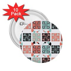 Mint Black Coral Heart Paisley 2 25  Buttons (10 Pack)  by Simbadda