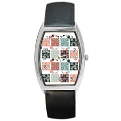 Mint Black Coral Heart Paisley Barrel Style Metal Watch by Simbadda