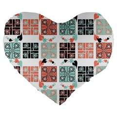 Mint Black Coral Heart Paisley Large 19  Premium Flano Heart Shape Cushions by Simbadda
