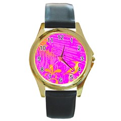 Spring Tropical Floral Palm Bird Round Gold Metal Watch
