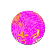Spring Tropical Floral Palm Bird Magnet 3  (round) by Simbadda