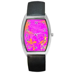 Spring Tropical Floral Palm Bird Barrel Style Metal Watch by Simbadda