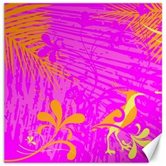 Spring Tropical Floral Palm Bird Canvas 20  X 20   by Simbadda