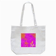 Spring Tropical Floral Palm Bird Tote Bag (white) by Simbadda