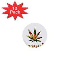 Marijuana Leaf Bright Graphic 1  Mini Buttons (10 Pack)  by Simbadda