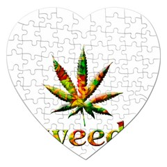 Marijuana Leaf Bright Graphic Jigsaw Puzzle (heart) by Simbadda
