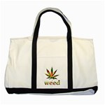 Marijuana Leaf Bright Graphic Two Tone Tote Bag Front