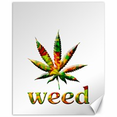 Marijuana Leaf Bright Graphic Canvas 11  X 14   by Simbadda