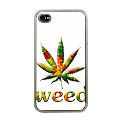 Marijuana Leaf Bright Graphic Apple Iphone 4 Case (clear) by Simbadda