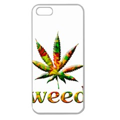 Marijuana Leaf Bright Graphic Apple Seamless Iphone 5 Case (clear) by Simbadda