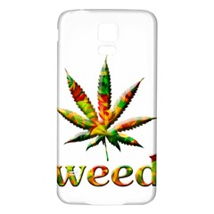 Marijuana Leaf Bright Graphic Samsung Galaxy S5 Back Case (white)