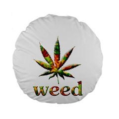 Marijuana Leaf Bright Graphic Standard 15  Premium Flano Round Cushions by Simbadda