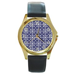 Leaves Horizontal Grey Urban Round Gold Metal Watch by Simbadda