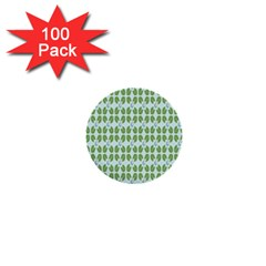 Leaf Flower Floral Green 1  Mini Buttons (100 Pack)  by Alisyart