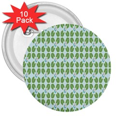 Leaf Flower Floral Green 3  Buttons (10 Pack)  by Alisyart