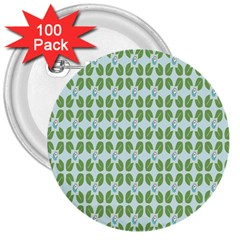 Leaf Flower Floral Green 3  Buttons (100 Pack)  by Alisyart