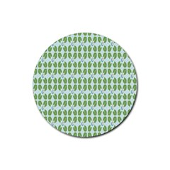 Leaf Flower Floral Green Rubber Round Coaster (4 Pack)