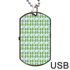 Leaf Flower Floral Green Dog Tag Usb Flash (two Sides) by Alisyart