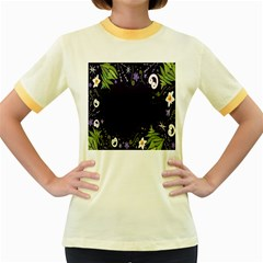 Spring Wind Flower Floral Leaf Star Purple Green Frame Women s Fitted Ringer T Shirts