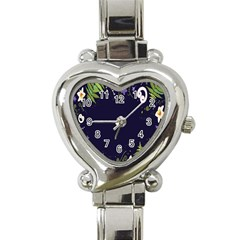 Spring Wind Flower Floral Leaf Star Purple Green Frame Heart Italian Charm Watch by Alisyart