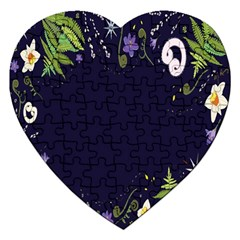 Spring Wind Flower Floral Leaf Star Purple Green Frame Jigsaw Puzzle (heart) by Alisyart