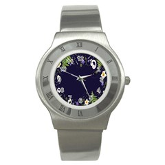 Spring Wind Flower Floral Leaf Star Purple Green Frame Stainless Steel Watch by Alisyart