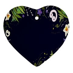 Spring Wind Flower Floral Leaf Star Purple Green Frame Heart Ornament (two Sides) by Alisyart