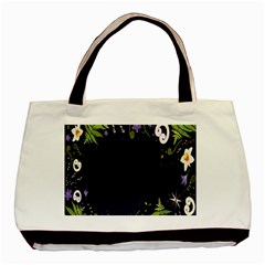 Spring Wind Flower Floral Leaf Star Purple Green Frame Basic Tote Bag (two Sides)