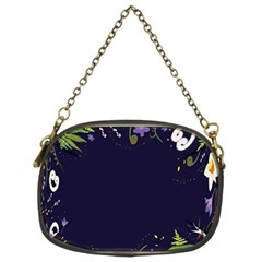 Spring Wind Flower Floral Leaf Star Purple Green Frame Chain Purses (two Sides)