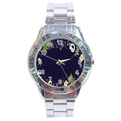 Spring Wind Flower Floral Leaf Star Purple Green Frame Stainless Steel Analogue Watch by Alisyart