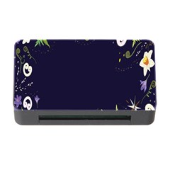 Spring Wind Flower Floral Leaf Star Purple Green Frame Memory Card Reader With Cf by Alisyart