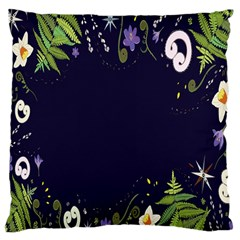 Spring Wind Flower Floral Leaf Star Purple Green Frame Large Cushion Case (one Side) by Alisyart