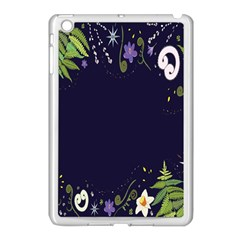 Spring Wind Flower Floral Leaf Star Purple Green Frame Apple Ipad Mini Case (white) by Alisyart