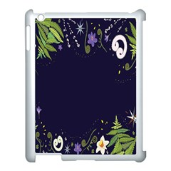 Spring Wind Flower Floral Leaf Star Purple Green Frame Apple Ipad 3/4 Case (white)