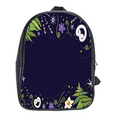 Spring Wind Flower Floral Leaf Star Purple Green Frame School Bags (xl)  by Alisyart