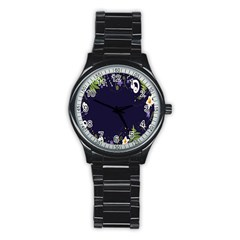 Spring Wind Flower Floral Leaf Star Purple Green Frame Stainless Steel Round Watch by Alisyart