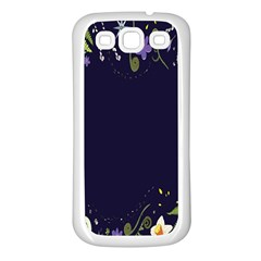Spring Wind Flower Floral Leaf Star Purple Green Frame Samsung Galaxy S3 Back Case (white)