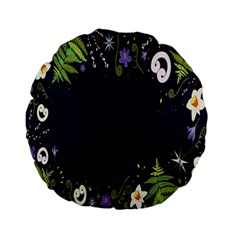 Spring Wind Flower Floral Leaf Star Purple Green Frame Standard 15  Premium Flano Round Cushions by Alisyart