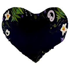 Spring Wind Flower Floral Leaf Star Purple Green Frame Large 19  Premium Flano Heart Shape Cushions by Alisyart