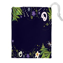 Spring Wind Flower Floral Leaf Star Purple Green Frame Drawstring Pouches (xxl)