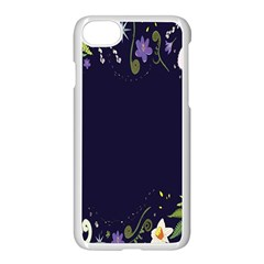 Spring Wind Flower Floral Leaf Star Purple Green Frame Apple Iphone 7 Seamless Case (white) by Alisyart