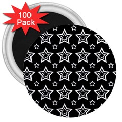 Star Black White Line Space 3  Magnets (100 Pack) by Alisyart