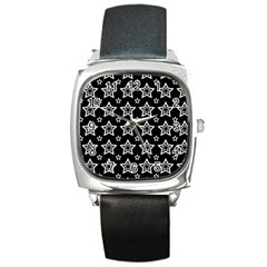 Star Black White Line Space Square Metal Watch by Alisyart