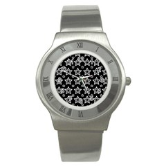 Star Black White Line Space Stainless Steel Watch by Alisyart