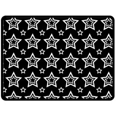 Star Black White Line Space Fleece Blanket (large)  by Alisyart