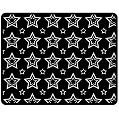 Star Black White Line Space Double Sided Fleece Blanket (medium)