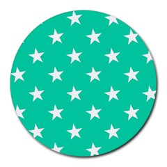Star Pattern Paper Green Round Mousepads by Alisyart