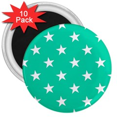 Star Pattern Paper Green 3  Magnets (10 Pack)